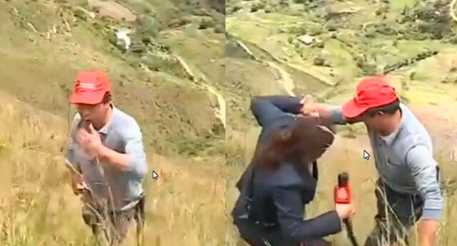 periodista casi se cae por zona empinada durante entrevista