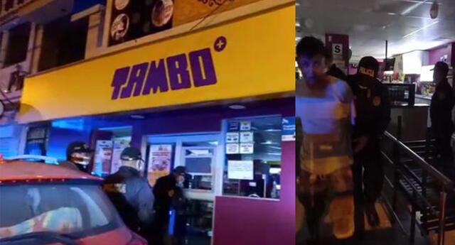 Ladrón fue detenido y llevado a la comisaría por intentar robar en local de Tambo.
