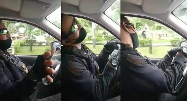 Peculiar video del policía se viralizó en las redes sociales.