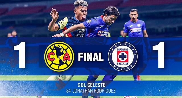 En el minuto 84 Jonathan Rodríguez le dio el empate a favor del Cruz Azul.