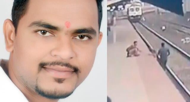 El niño iba acompañado de su madre invidente, cuando cayó accidentalmente a la vía del tren. Mayur Shelkhe reaccionó pronto antes que el tren llegara.