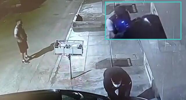Roban autopartes de auto y son captados por las cámaras de seguridad de SMP.