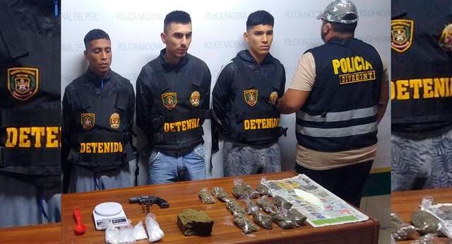 Los detenidos, el arma y la droga