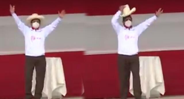 Pedro Castillo subió al escenario con canción Cholo chotano.
