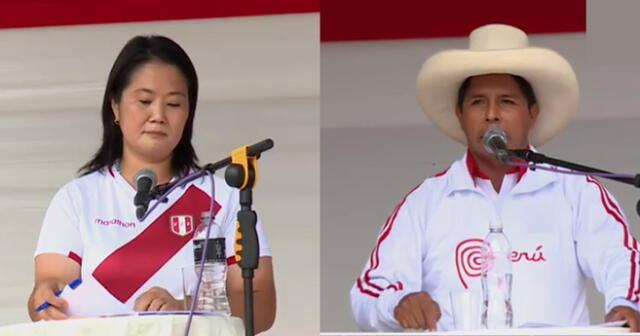 El candidato presidencial Pedro Castillo empezó su discurso saludando y destacando la labor de los ronderos.