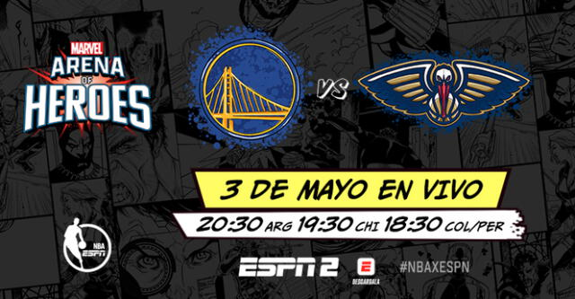 el juego del lunes 3 de mayo entre New Orleans Pelicans vs. Golden State Warriors