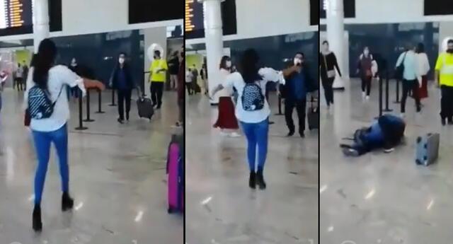 Peculiar video en el aeropuerto se viralizó en las redes sociales.