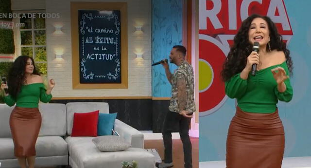 Diego Val llegó al set de America Hoy, y sorprendió al entonar un tema para Janet Barboza, y la llenó de piropos.
