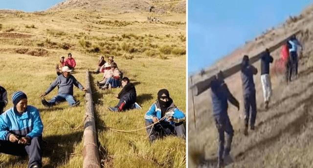 Padres de familia trasladaron poste por la empinada pendiente de la montaña Patapata.
