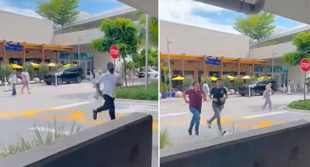 Las imágenes en línea muestran a personas  corriendo hacia sus autos.