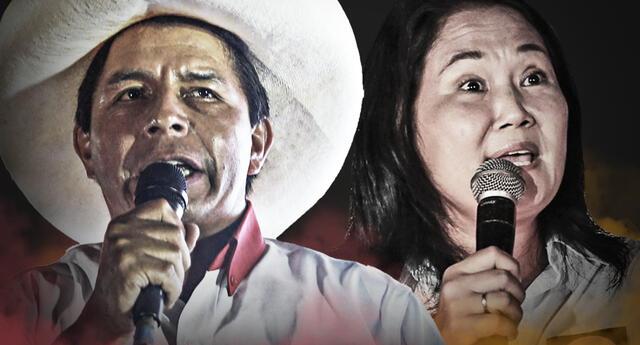 Pedro Castillo quedó en el primer lugar de las preferencias del 11 de abril y Keiko Fujimori, en el segundo. Foto: composición Fabrizio Oviedo/La República