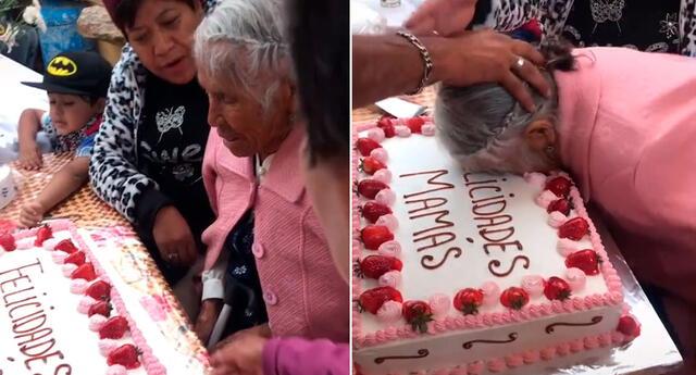 La adulta mayor sorprendió a millones con su tierna reacción.