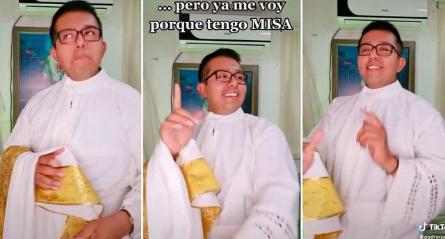 El sacerdote logró obtener más de 800 mil reproducciones en TikTok.