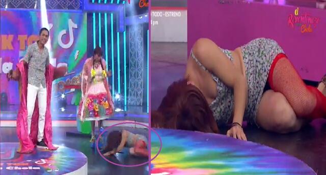 La Uchulú cayó al piso al ver a su 'Shamuco' en El Reventonazo de la Chola.