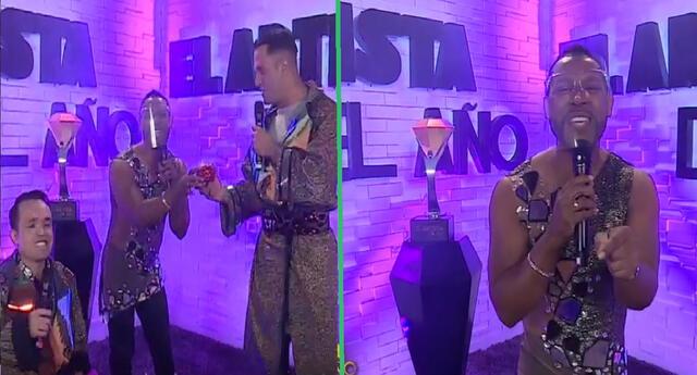 Giselo sorprendió al aparecer al inicio del programa de El artista del año.