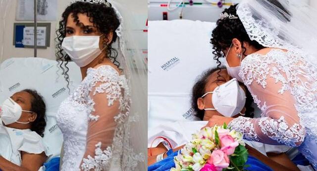 """""""Hija, estás aquí"""": novia visita a su mamá en el hospital para recibir su bendición antes de su boda."""