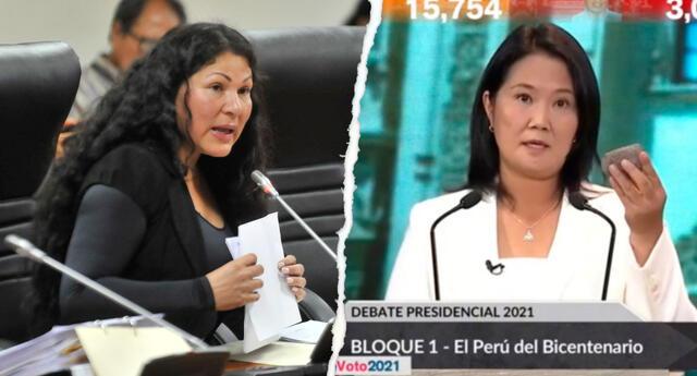 Yesenia Ponce cuestionó a la candidata presidencial Keiko Fujimori por llevar una piedra en el debate presidencial de Arequipa.