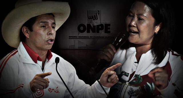 Empate técnico. De acuerdo al conteo rápido de América TV / Ipsos Perú, Keiko Fujimori obtuvo 50.3% y Pedro Castillo 49.7 %.