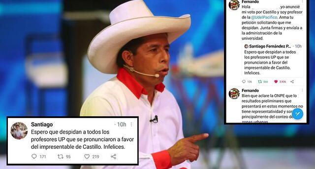 Estudiante pide el despedido de los profesores que votaron por Pedro Castillo y uno de ellos lo encara en Twitter.