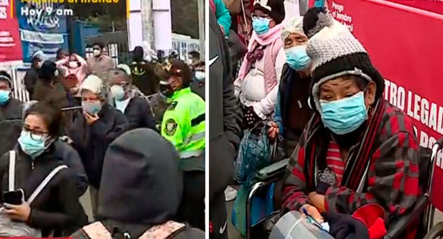 Decenas de personas se vienen aglomerando en el centro de vacunación pese a la presencia de la Policía Nacional del Perú.