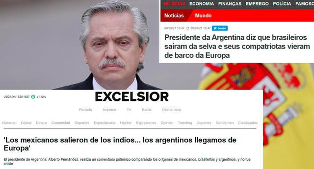 """""""Los mexicanos salieron de los indios, los brasileros salieron de la selva, pero nosotros los argentinos llegamos de los barcos de Europa"""", dijo Fernández."""