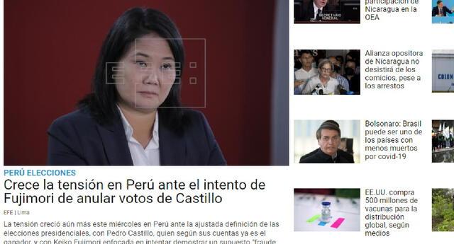 """La agencia de noticias EFE de noticias destaca que la """"tensión en Perú"""" ha crecido por la definición de un vencedor en los comicios electorales en el país."""