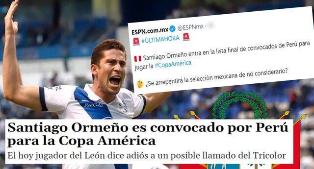 Ricardo Gareca llamó a Santiago Ormeño para la Copa América y prensa mexicana reaccionó.