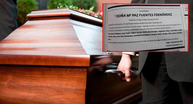 La mujer dejó una lista de invitados a su funeral antes de morir.