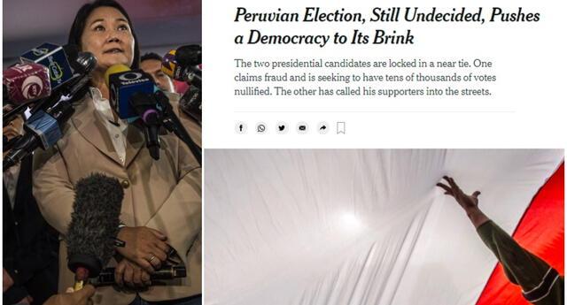 """Casi una semana después de que se emitieran los votos, """"Perú nuevamente está preso de la incertidumbre"""", señala el Times."""