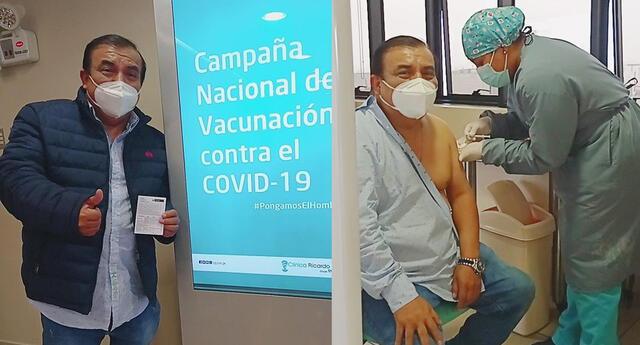 Manolo Rojas recibiendo su primera vacuna en nosocomio local.