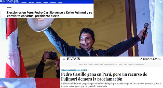 """""""El profesor de escuela Pedro Castillo ganó este jueves las elecciones por un margen de solo 63,000 votos"""", citó El País."""