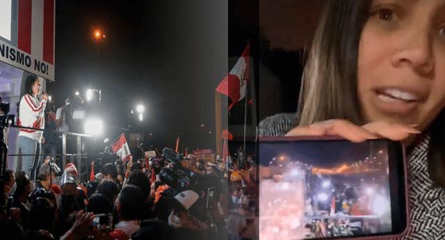 Andrea San Martín 'asiste' a marcha de Keiko Fujimori desde su celular mientras hace parrillada