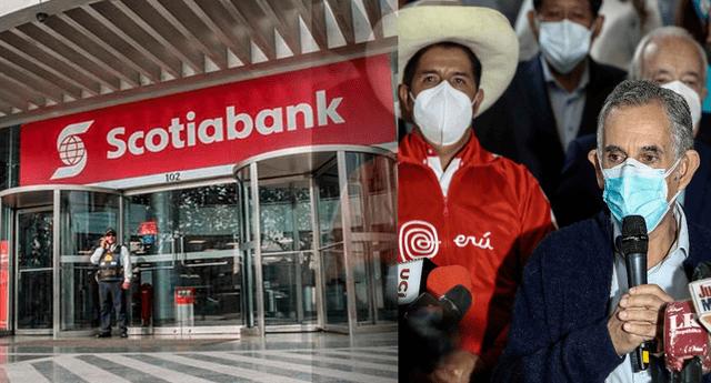 La entidad financiera Scotiabank se refieren a Pedro Castillo y Pedro Francke.