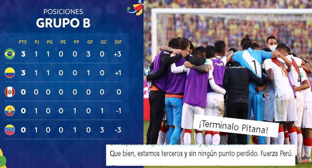 Jugada la primera fecha del grupo B de la Copa América, Perú se ubica tercero.