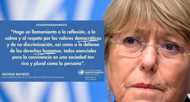 El mensaje de la también expresidenta de Chile, Michelle Bachelet, fue difundido por la ONU Derechos Humanos en América del Sur.