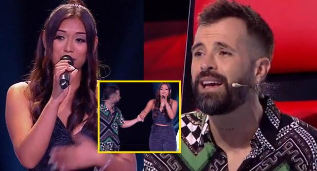 Mike Bahía canta a dúo con participante Nicolle quien lo impresionó por su voz.