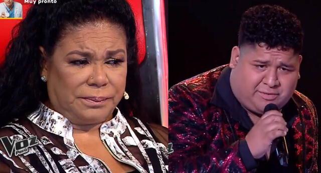 Eva Ayllón llora al escucha a concursante cantar Vivo en un mundo de mentiras.
