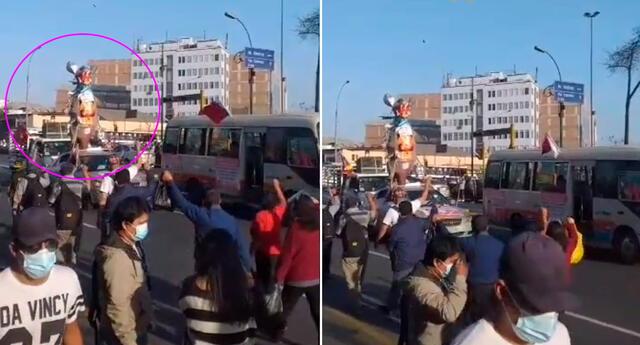 La estatua de la rato fue paseada por las principales calles de Lima.