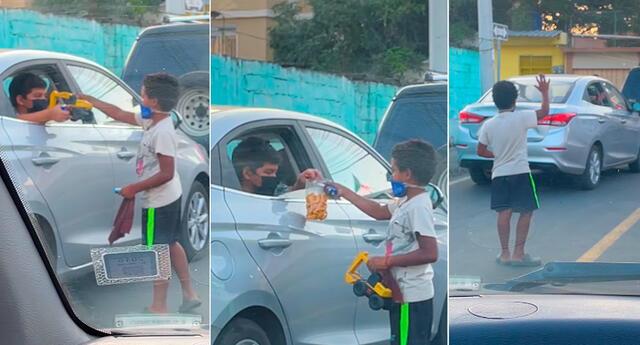 El niño desaparece por un momento, y luego regresa a la escena con una pequeña bolsa de chicharrones que su familia vende en la calle.