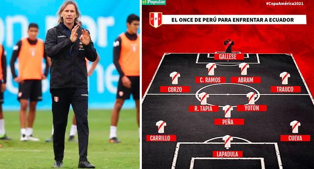 Ricardo Gareca solo realizaría una modificación para el encuentro ante Ecuador.