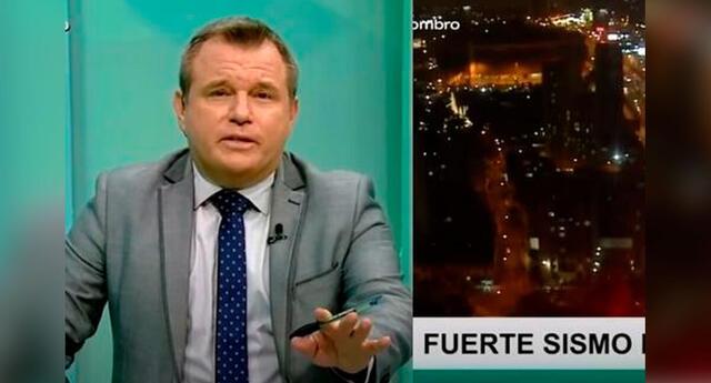 """Enrique Chávez, periodista del programa """"Cara a Cara"""" de TV Perú, se encontraba en una entrevista cuando el movimiento telúrico sacudió el set en Lima, la noche del martes 22 de junio."""