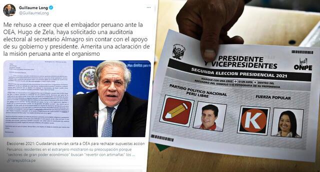 El canciller ecuatoriano Guillaume Long pide que la delegación peruana ante la OEA haga una aclaratoria sobre la situación.