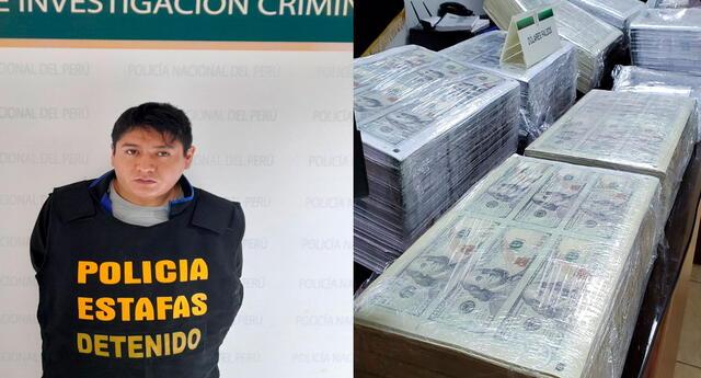El detenido y las planchas de billetes incautadas