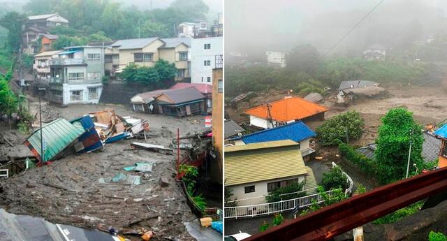 El deslizamiento de tierra arrasó con las viviendas en la ciudad de Atami, Japón.casas