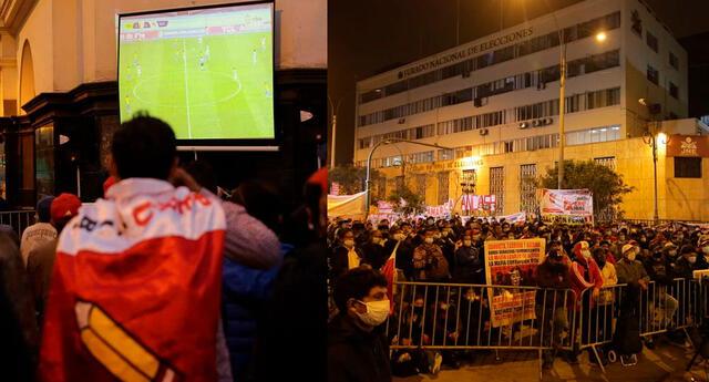 colocan pantalla para ver el partido de Perú vs Brasil en el JNE