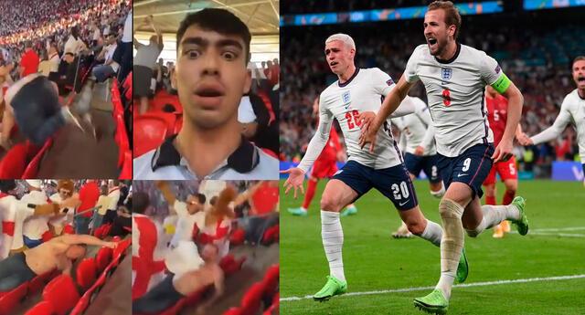 Hinchas ingleses vivieron con intensidad el partido por semifinales de la Eurocopa ante Dinamarca.
