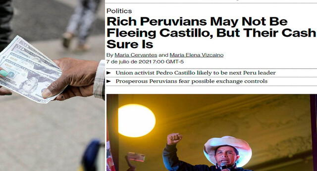 """El """"éxodo"""" de dólares en el Perú llamó la atención del medio extranjero. Foto: composición/John Reyes/La República/Bloomberg"""