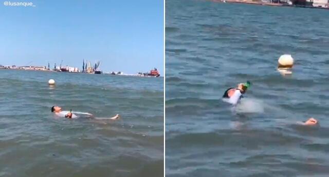 El hombre fue grabado mientras flotaba boca arriba en el mar.