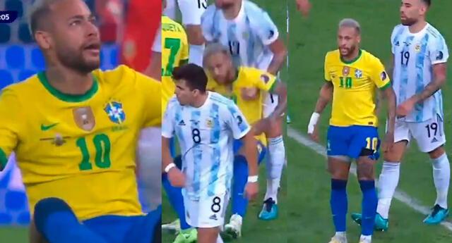 Otamendi levanta del suelo a Neymar
