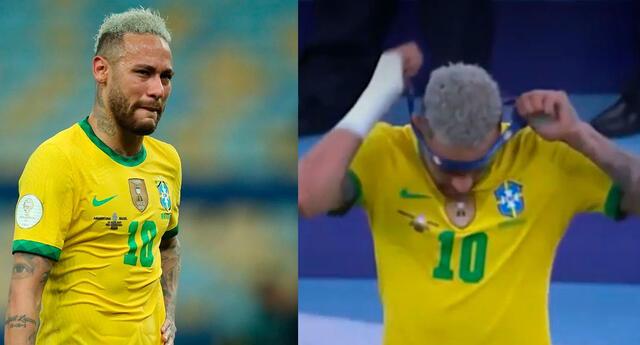 Neymar se quita la medalla del segundo puesto